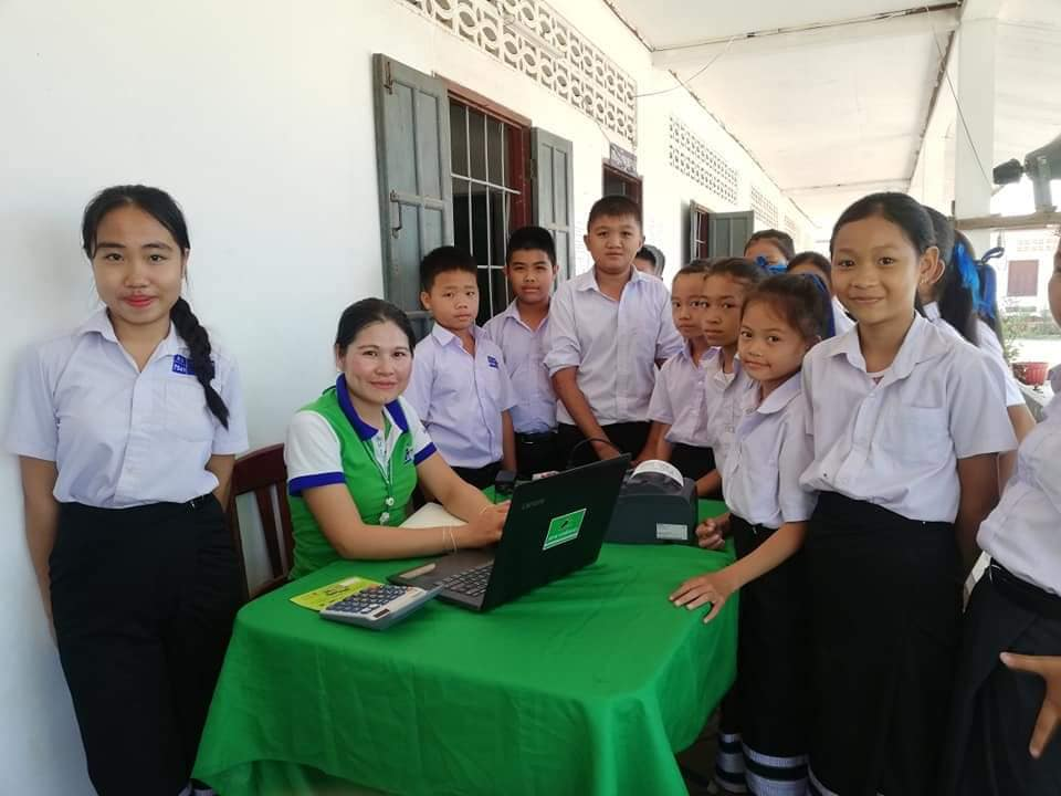 EMI Saving Mobilization Department continues to conduct training in financial education and saving service to the students at the school in Vientiane Capital.