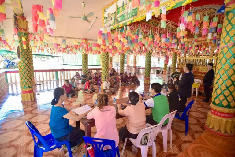 EMI Conduct training financial education to the clients at Tanpiew Village, Thoulakhom District, Vientiane Province